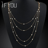 2015 New Fashion Women Star Temperament Elegant Multilayer Alloy Chain Pendant Necklace Statement Long Necklaces Jewelry PT33