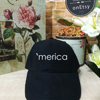 Merica Hats Merica Caps, Dad hat, Baseball Hat, Baseball Cap Low Profile, Black/White Pinterest Instagram, america hat, use, 4th of july hat