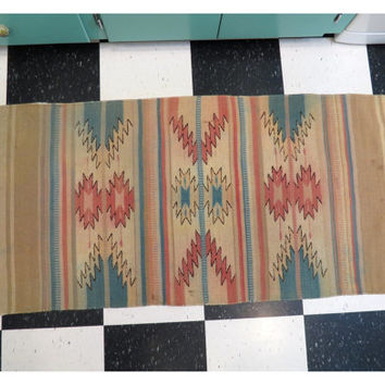 Southwestern Woven Wool Rug . Well Worn . Vintage Wall Hanging or Horse Saddle Blanket . Turquoise