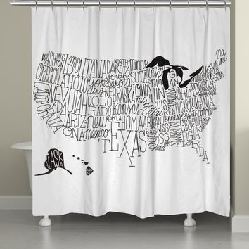 Hand Lettered US Map Black and White Shower Curtain