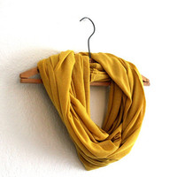 Yellow Infinity Scarf -  Mustard Yellow Scarves - Loop Scarf Infinity - Mothers Day gift Free Shipping