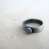 Rustic personalized sterling birthstone ring
