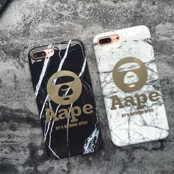 Trendy Marble Pattern AApe Print Iphone X/8 8 Plus/ 7 7Plus/ 6 6s Plus Cover Case