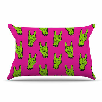 "KESS Original ""Zombie Rock"" Green Magenta Pillow Case"