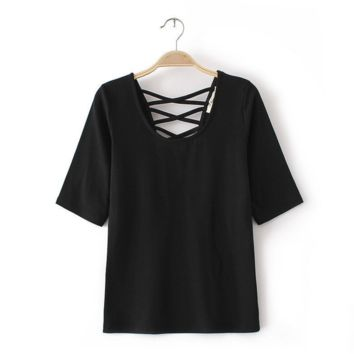 Cross Lace Causal  T-shirt Top B0016427