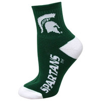 NCAA Michigan State Spartans Team Quarter Socks, Medium
