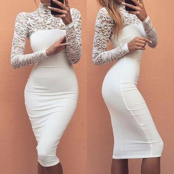 White Midi Laced Bodycon Dress