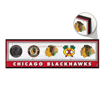"CHICAGO BLACKHAWKS THROUGHOUT THE YEARS LOGO VINTAGE WOOD SIGN 9""x30"" WINCRAFT"