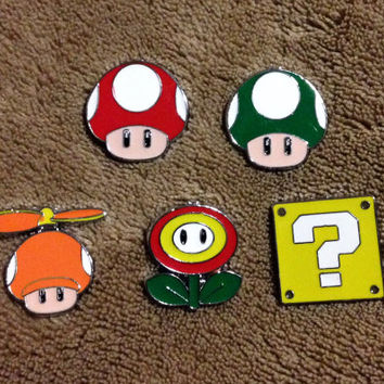 LOT OF 5 Super Mario Bros Hat Pin Set - Handmade, Repurposed From Charms Set A