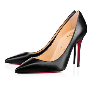 Christian Louboutin CL Decollete 554 Black Leather 100mm Stiletto Heel  Best Deal Online