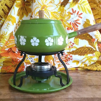 Vintage Midcentury Fondue Pot and Stand, Retro Kitchen Appliances