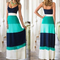 Light Blue Color Block Spaghetti Strap Bohemian Maxi Dress