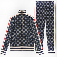 GUCCI tide brand men's striped sports zipper cardigan two-piece Blue