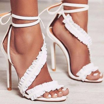Ankle Strap High Heels Ruffles Sandals