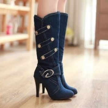 Small and Plus Size Best-selling Buttons Buckle High-heeled Boots Deep Blue = 1945684612