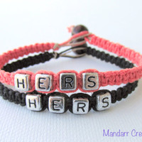 Hers and Hers Bracelets for LGBT Couples, Coral and Black Handmade Hemp Jewelry