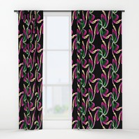 Neon Floral Window Curtains by kasseggs
