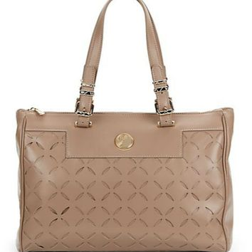 Versace Collection Laser-Cut Leather Tote Bag