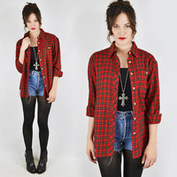 vtg 80s 90s grunge revival red tartan PLAID print slouchy OVERSIZED FLANNEL button up shirt top S M L