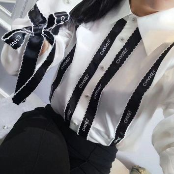Chanel Women Simple Fashion Stripe Ribbon Long Sleeve Shirt Top Tee