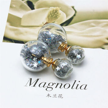 newest spring design fashion brand jewelry double sides stud earrings for women glass handmade beads statement earrings