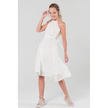 Side lace up dress with open back in white