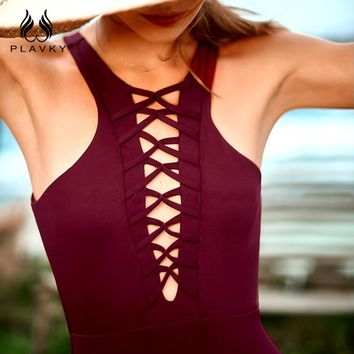 PLAVKY Sexy High Neck Lace Up Strappy Bandage Cut Out Trikini Swim Bathing Suit Monokini Thong Swimwear Women One Piece Swimsuit