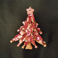 Christmas Tree Pin - Pink Jewelry - One of a Kind