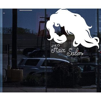 Window Sign for Business Vinyl Decal Silhouette Woman Face Long Wavy Hair Beauty Salon Wall Sticker (n977w)