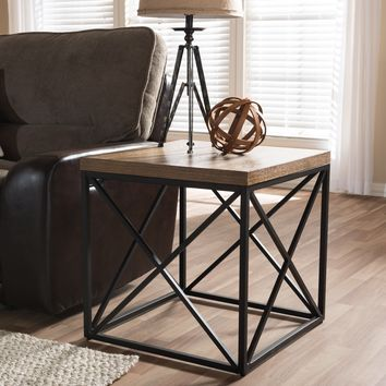 Baxton Studio Holden Vintage Industrial Antique Bronze End Table Set of 1