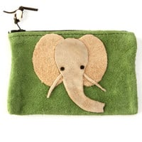 Green Elephant Suede Coin Purse