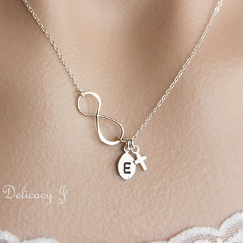 Cross infinity necklace, Initial necklace, Cross necklace, Monogram necklace, Baptism gift, Bridal party gift, Wedding jewelry, Mother day