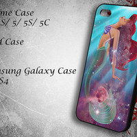 Ariel the Little Mermaid on Galaxy Nebula Samsung Galaxy S3/ S4 case, iPhone 4/4S / 5/ 5s/ 5c case, iPod Touch 4 / 5 case