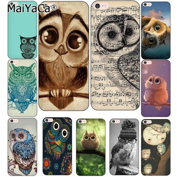 MaiYaCa Owl Soft Phone Case For iphone 5s 6 6s Owl 6plus 6splus 7plus 8 8Plus X Transparent TPU Cell Phone Protective Cover case
