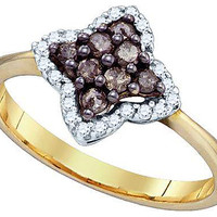 Cognac Diamond Fashion Ring in 10k Gold 0.34 ctw