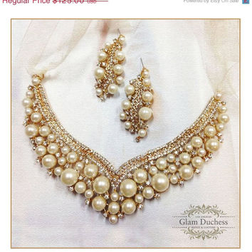 bridal jewelry, Bridal bib necklace earrings , pearl rhinestone ribbon bridal necklace, Gold bridal crystal necklace,wedding jewelry