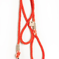 Rope dog leash dog collar pet accessory dog lead: Small flame red cotton rope 50""