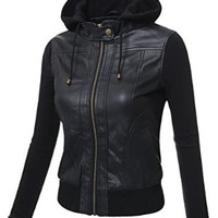 J.TOMSON Womens Mixed Fabric Faux Leather PU Zip-Up Hooded Bomber Moto Jacket BLACK SMALL