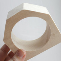 35 mm Wooden bangle unfinished hexahedral  - natural eco friendly HX35