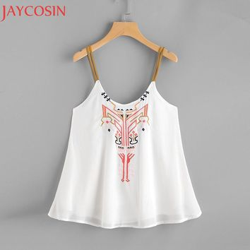 Summer Tank Tops Women Casual Sexy Sleeveless Crop Tops Fashion Lady Chiffon Vest Shirt Embroidery Blouse Cami Blusa Beach May25