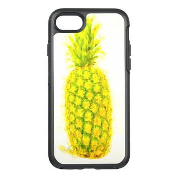 Yellow and green pineapple on white OtterBox symmetry iPhone 7 case