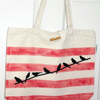 Customized 100% Recycled Cotton Tote Bag with Heat Transfer Vinyl - Red Stripes with Birds on a Wire - book bag/shopping bag/grocery bag