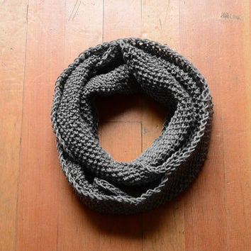 MADE TO ORDER Gray Knit Scarf, Gray Infinity Scarf, Gray Knitted Scarf, Hand-Knit Scarf, Gray Circle Scarf, Gray Knit Snood, Gray Knit Cowl