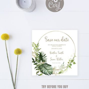 Botanical Leaves Save the Date Card Template, Modern Save Our Date Card, Greenery and Gold Foil Save The Date Card