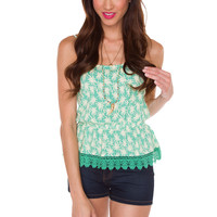 Perla Floral Top - Mint
