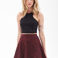 FOREVER 21 Paisley Embroidery Skirt Black/Burgundy