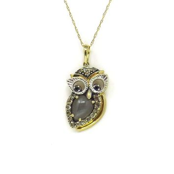 Moonstone Diamond Gold Owl Pendant Necklace, Contemporary, Post 1990