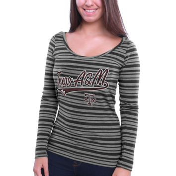 Texas A&M Aggies adidas Women's My Glow Striped Triblend Long Sleeve T-Shirt – Gray