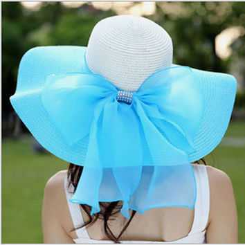 Women's beach sun hats Cap  Summer New Fashion Foldable Floppy Sun Hats Casual Ladies sombreros bowknot straw hat For Girls