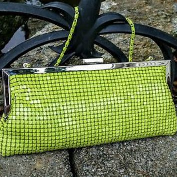 Lime Green Shiney Clutch Handbag, NWOT